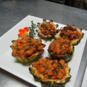 Chickpea Ragout with raisins preserved lemon in acorn squash